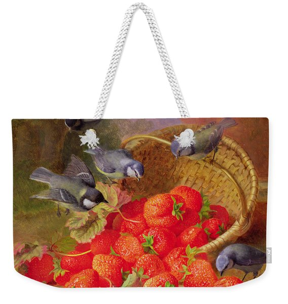 Still Life With Strawberries And Bluetits Weekender Tote Bag