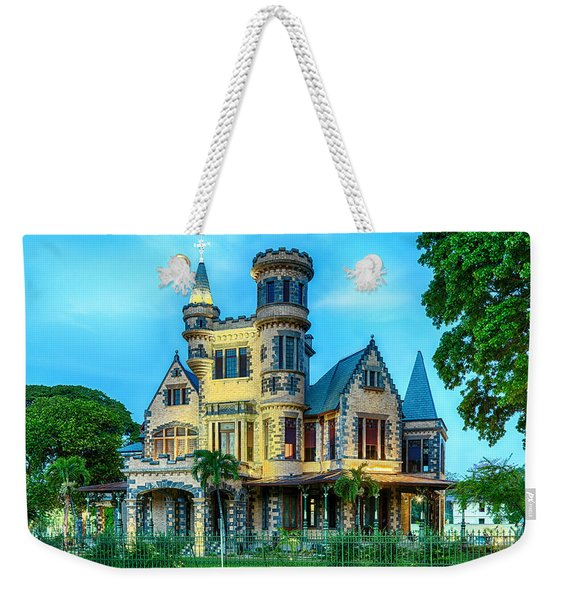 Weekender Tote Bag featuring the photograph Stollmeyer Castle Trinidad by Rachel Lee Young