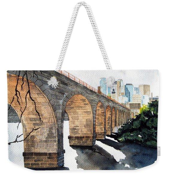Stone Arch Bridge Watercolor Weekender Tote Bag
