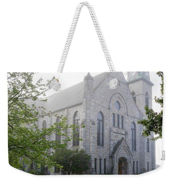 Stone Chapel In Fog Weekender Tote Bag