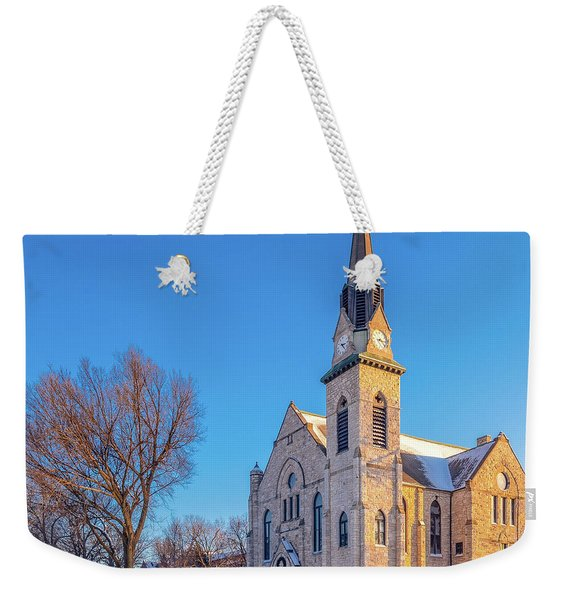 Stone Chapel In Winter Weekender Tote Bag