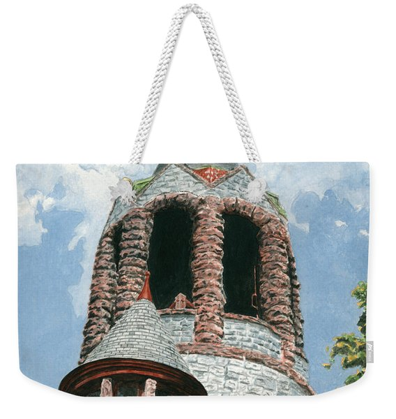 Weekender Tote Bag featuring the painting Stone Church Bell Tower by Dominic White