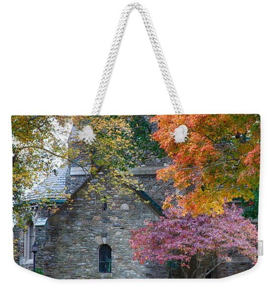 Stone Church In Pomfret Ct In Autumn Weekender Tote Bag
