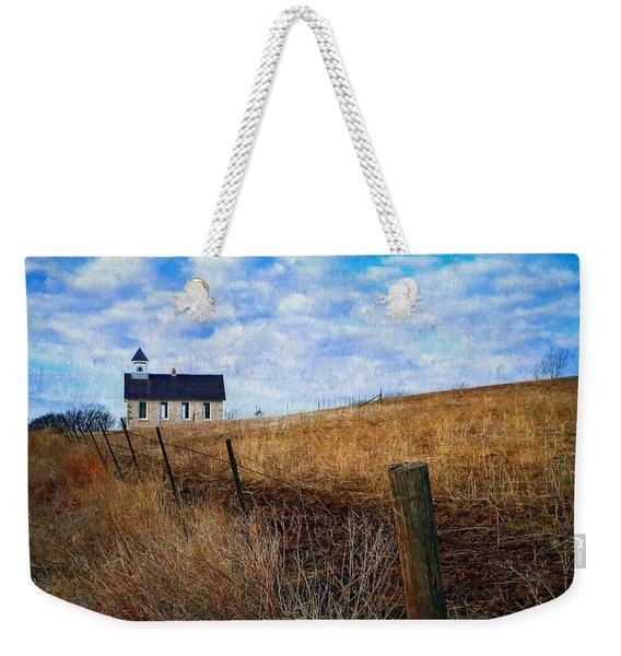 Stone Schoolhouse On The Kansas Prairie Weekender Tote Bag