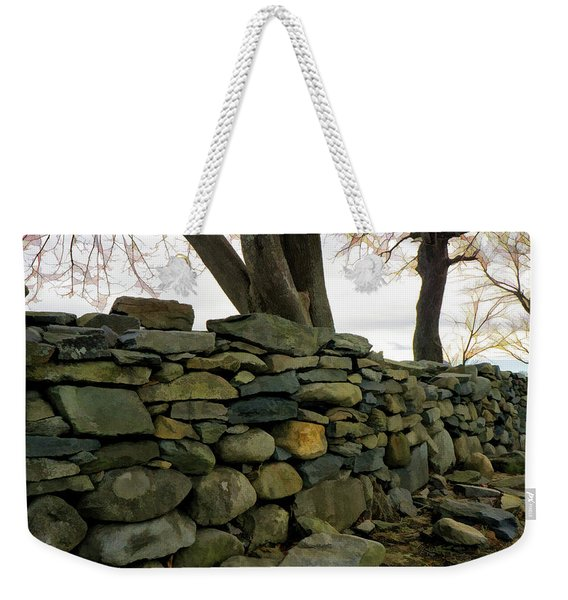 Weekender Tote Bag featuring the photograph Stone Wall, Colt State Park by Nancy De Flon