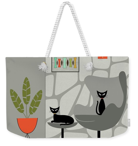 Weekender Tote Bag featuring the digital art Stone Wall Gray Tones by Donna Mibus