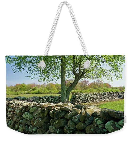 Weekender Tote Bag featuring the photograph Stone Wall In Rhode Island by Nancy De Flon