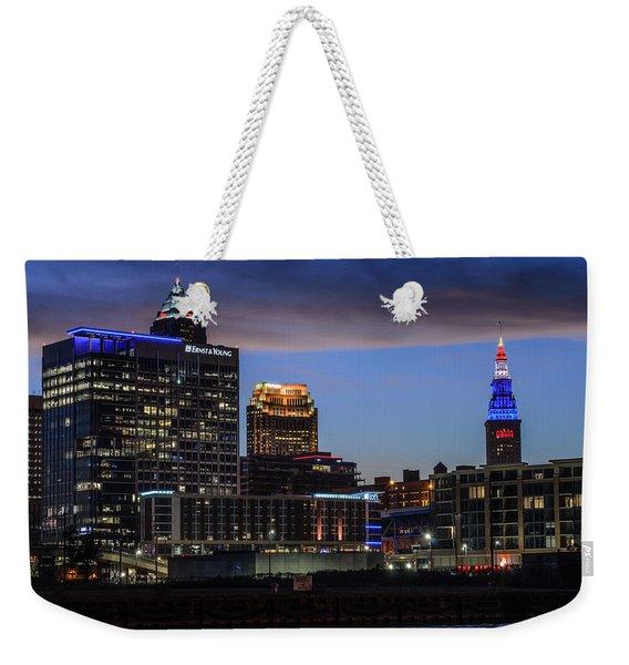 Storm Over Cleveland Weekender Tote Bag