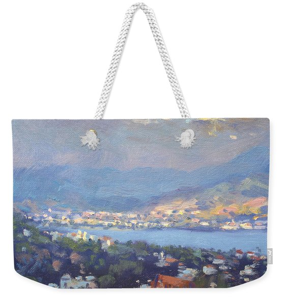 Storm Over Dilesi And Evia Island  Weekender Tote Bag