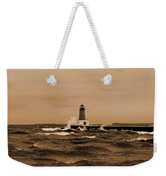 Storm Sandy Effects Menominee Lighthouse Sepia Weekender Tote Bag