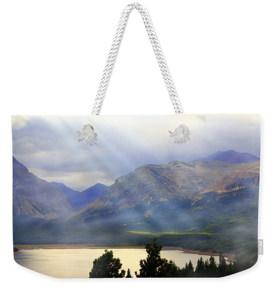 Storms A Coming-lower Two Medicine Lake Weekender Tote Bag