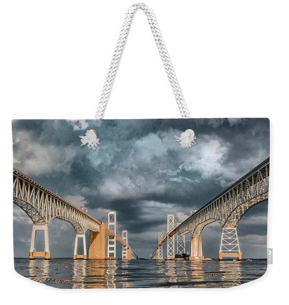 Stormy Chesapeake Bay Bridge Weekender Tote Bag
