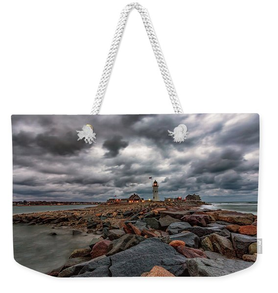 Stormy Sunrise Over Scituate Lighthouse Weekender Tote Bag