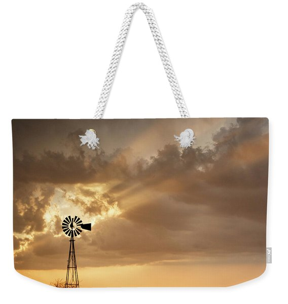 Stormy Sunset And Windmill 03 Weekender Tote Bag