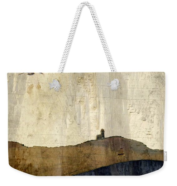 Strata With Lighthouse And Gull Weekender Tote Bag