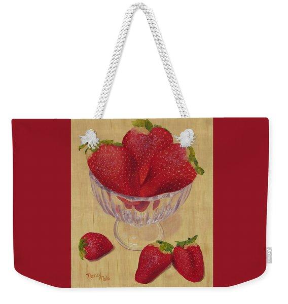 Weekender Tote Bag featuring the painting Strawberries In Crystal Dish by Nancy Nale