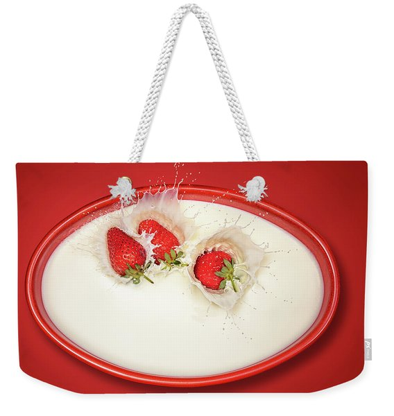Strawberries Splashing In Milk Weekender Tote Bag