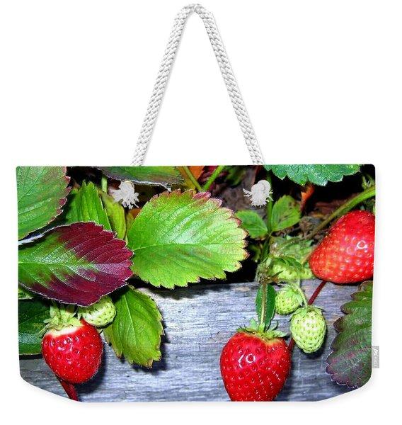 Strawberries Weekender Tote Bag
