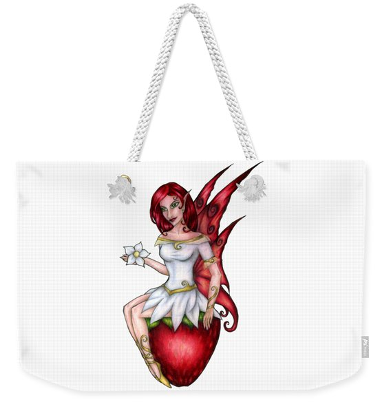 Weekender Tote Bag featuring the drawing Strawberry Fairy Drawing by Kristin Aquariann