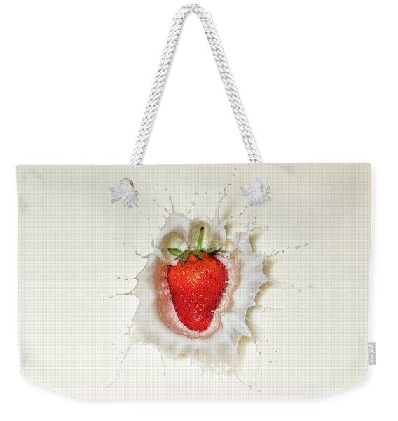 Strawberry Splash In Milk Weekender Tote Bag