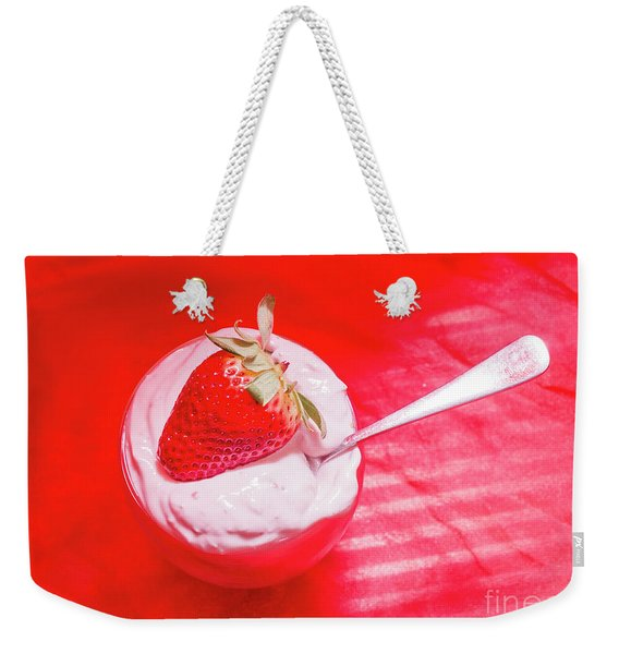 Strawberry Yogurt In Round Bowl With Spoon Weekender Tote Bag