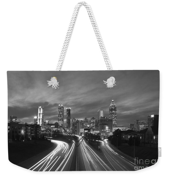 Streaking To And From Atlanta Night Lights Sunset 2 Weekender Tote Bag