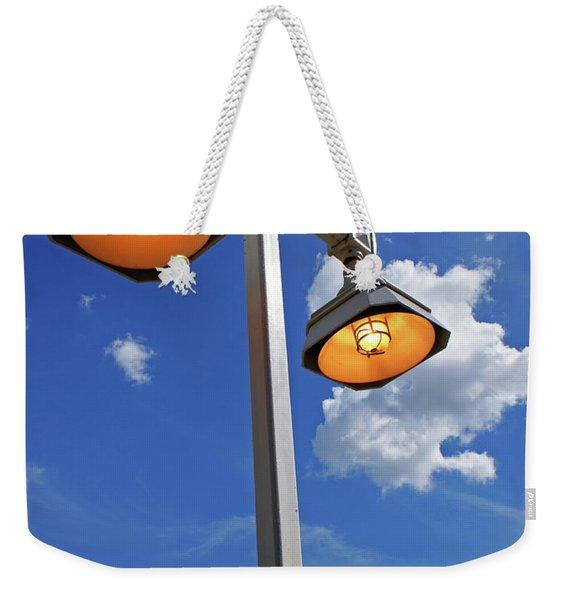 Street Lights, Blue Sky Weekender Tote Bag