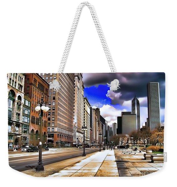 Streets Of Chicago Weekender Tote Bag