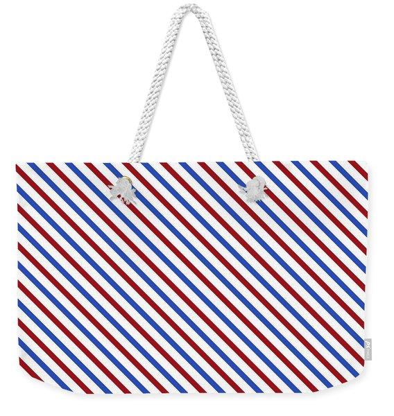 Stripes Diagonal Carmine Red Cobalt Blue Simple Modern Weekender Tote Bag