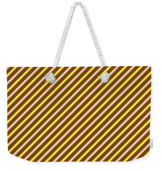 Stripes Diagonal Chocolate Banana Yellow Toffee Cream Weekender Tote Bag