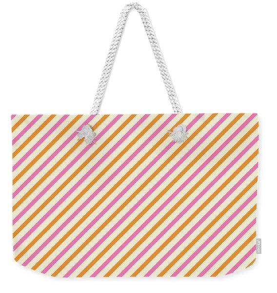 Stripes Diagonal Orange Pink Peach Simple Modern Weekender Tote Bag