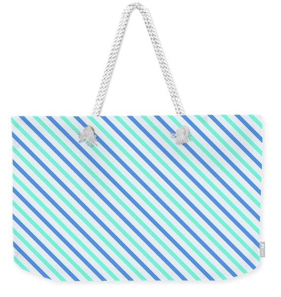 Stripes Diagonal Turquoise Blue Summer Simple Modern Weekender Tote Bag