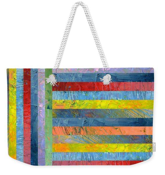 Stripes With Blue And Red Weekender Tote Bag