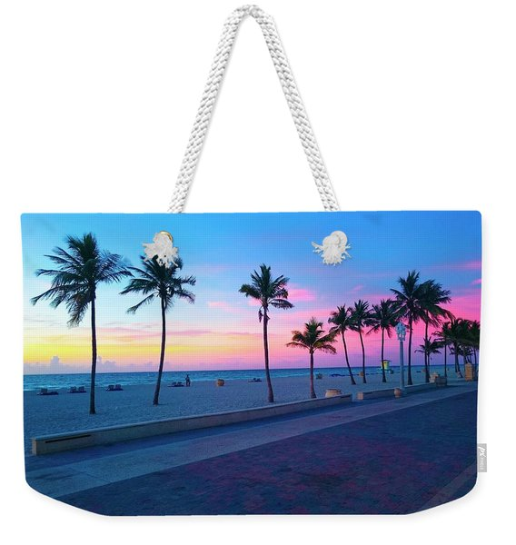 Strolling Along The Beach Under A Majestic Sunset Weekender Tote Bag
