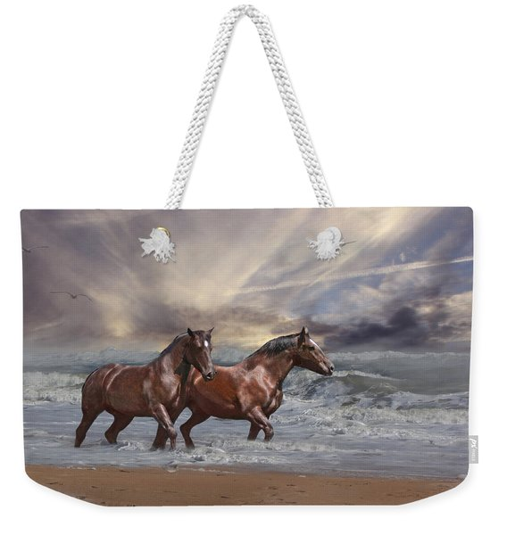 Strolling On The Beach Weekender Tote Bag