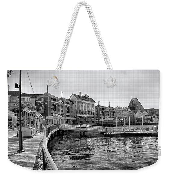 Strolling On The Boardwalk In Black And White Walt Disney World Mp Weekender Tote Bag