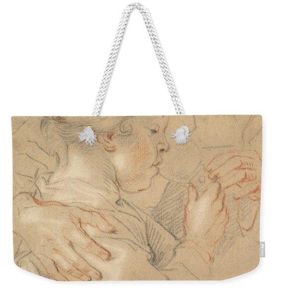 Study Of A Young Girl Drinking From A Glass Weekender Tote Bag