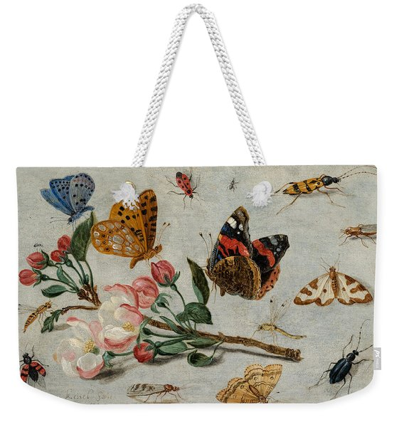 Study Of Butterflies And Other Insects With A Sprig Of Apple Blossom Weekender Tote Bag