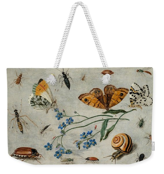 Study Of Insects, Butterflies And A Snail With A Sprig Of Forget-me-nots Weekender Tote Bag