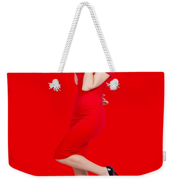 Stunning Pinup Girl In Red Rockabilly Fashion Weekender Tote Bag