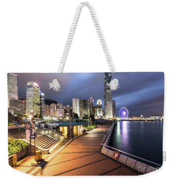 Stunning View Of Hong Kong Central Business District Skyscrapers Weekender Tote Bag