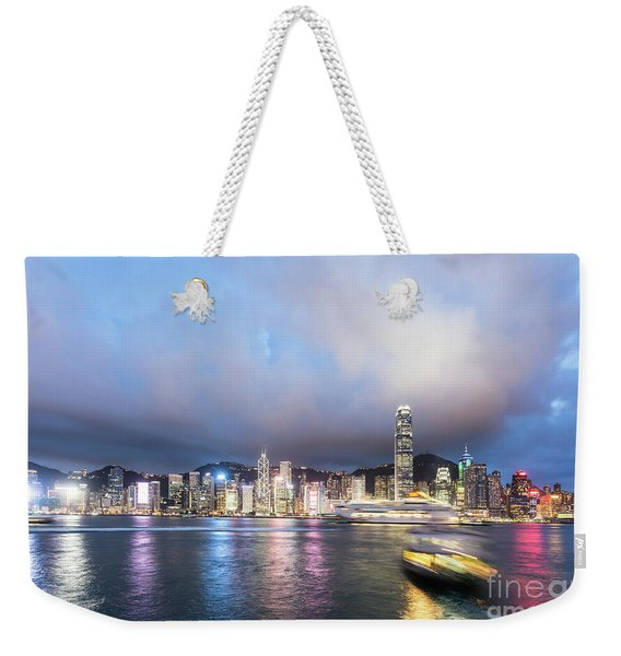 Stunning View Of Hong Kong Island At Night.  Weekender Tote Bag