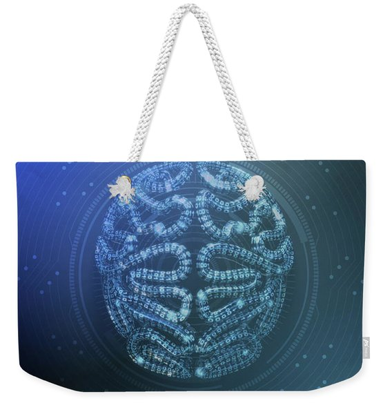 Stylized Artificial Intelligence Brain With Tech Overlay Weekender Tote Bag