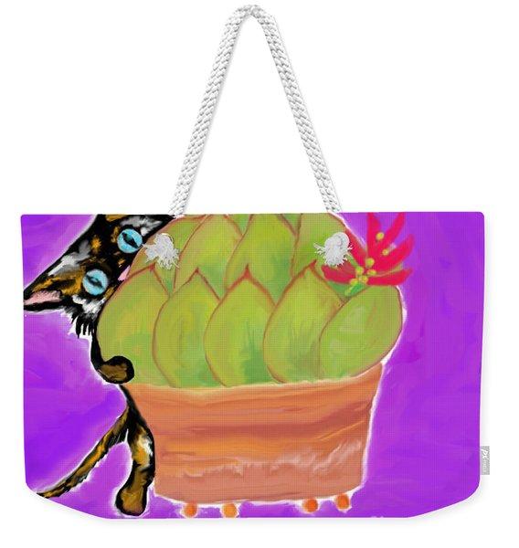 Succulent Calico Cat  Weekender Tote Bag