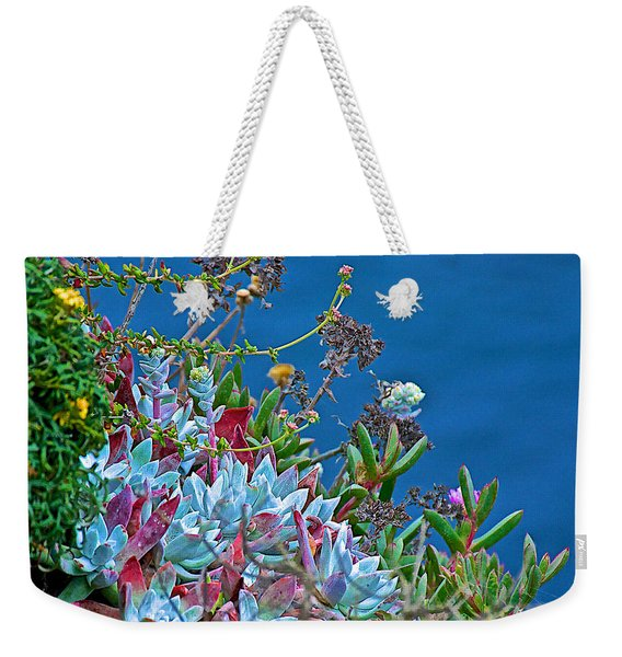 Succulents Over The Pacific Ocean In Point Lobos State Reserve Near Monterey-california  Weekender Tote Bag