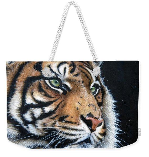 Weekender Tote Bag featuring the painting Sumatran  by Sandi Baker