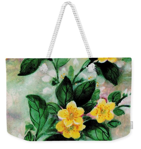 Weekender Tote Bag featuring the painting Summer Blooms by Writermore Arts