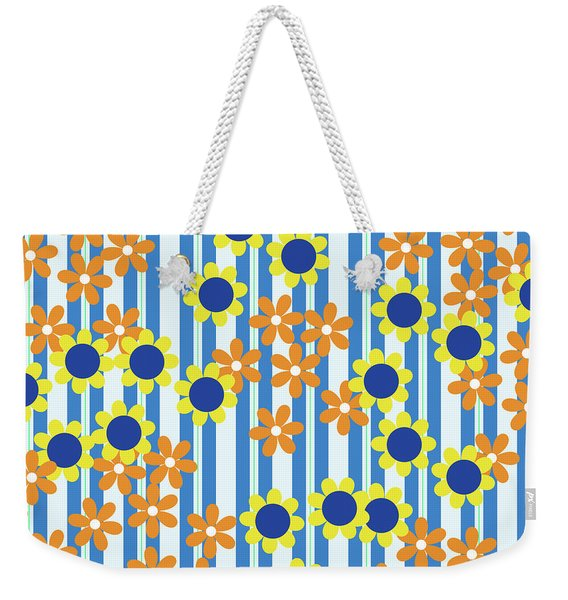 Summer Floral Stripes Blue Yellow Orange Flowers Weekender Tote Bag