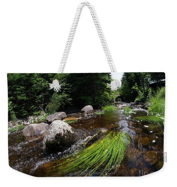 Weekender Tote Bag featuring the photograph Summer Flow Of Water Near Rangeley Maine  -63322 by John Bald