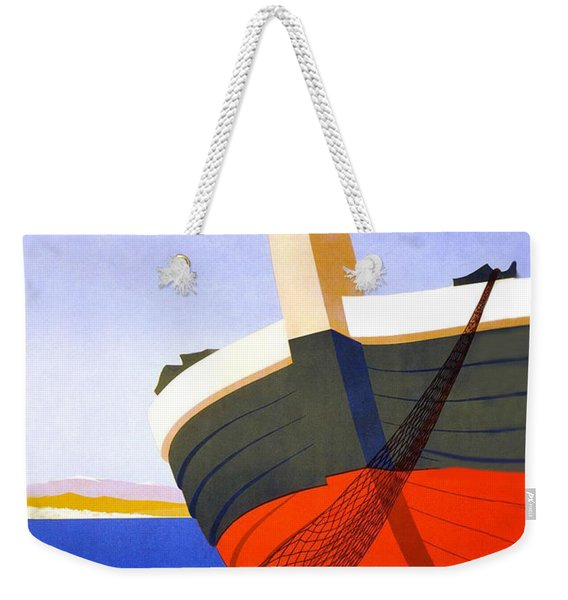 Summer In Italy, Fishing Boat On The Coast, Travel Poster Weekender Tote Bag